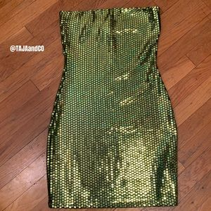 FashionNOVA Iridescent Strapless Bodycon Dress